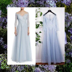 $1,100 NWT Teri Jon Luxury Ice blue Ball Gown 4 S